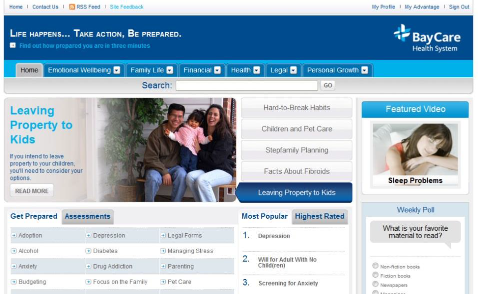 Screen capture of BayCare website.