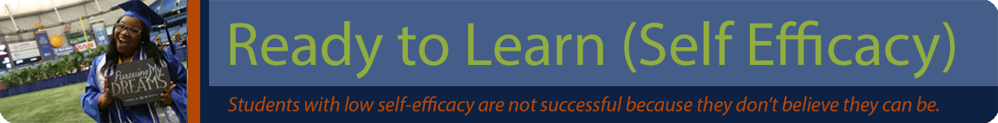 Ready to Learn (Self Efficacy) Banner - Students with low self efficacy are not successful because they do not believe they can be